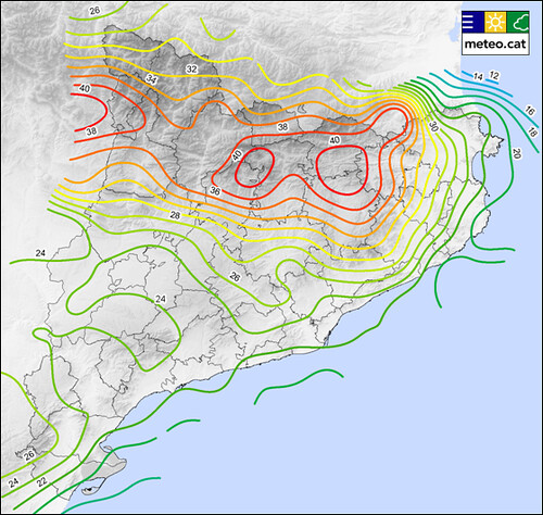 Mapa de dies de tempesta, mitjana anual del període 2004-2012 elaborat a partir de les dades de la XDDE de l'SMC, a partir d'una malla de 20 x 20 km.