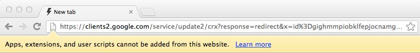 Manual Chrome Extension Download Error on Google Chrome