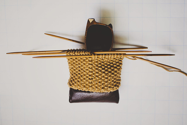 knitting on leather
