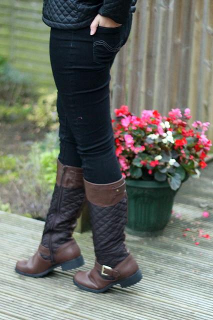 F&F coat, jeans, boots