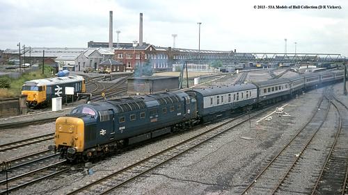 train diesel railway britishrail doncaster southyorkshire passengertrain deltic class55 alycidon 55009