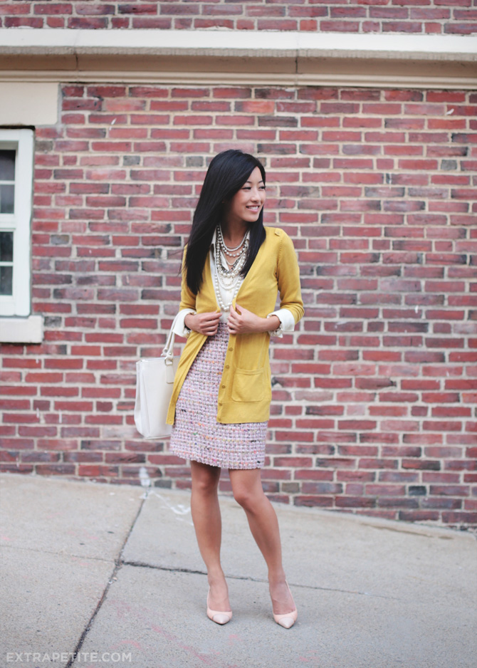 pink tweed and mustard