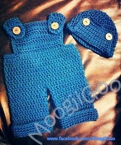 Crochet Pattern For Owl Baby Bunting : Crochet denim overalls newborn set by MoogjiGoo Flickr ...
