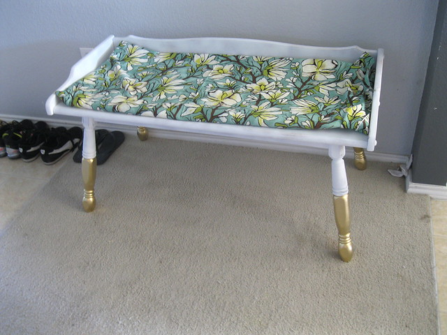 primed bench gold legs fabric