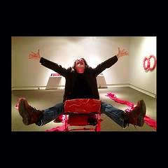 Alan Dyson gets 'Open Expansive' at #meadowsmuseum. I'll be at the Meadows today from 1-4 PM with my iPhone to shoot you. Stop by and let me capture you in this chair being 'Open Expansive.'  'Open Expansive' is an interactive piece at 'Red, Juicy