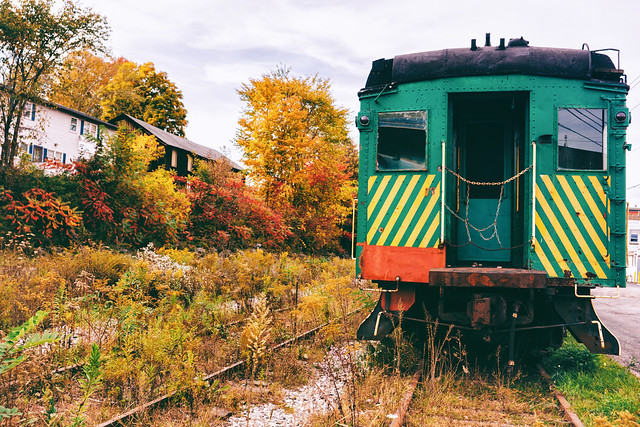 Autumn - Railroad Tracks and Abandoned Train - Honesdale - Pocono Mountains
