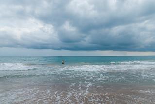 Image of Platja de Tamarit. sea costa storm beach clouds mar mediterraneo playa nubes tormenta dorada mediteranean ka13 kaxiii
