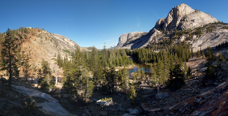 Looking back down the Grand Canyon of the Tuolumne River from Glen Aulin, peak 8886 on the right