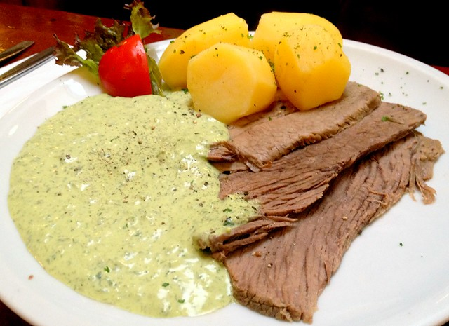 Boiled beef with Frankfurter Green Sauce and Boiled Potatoes