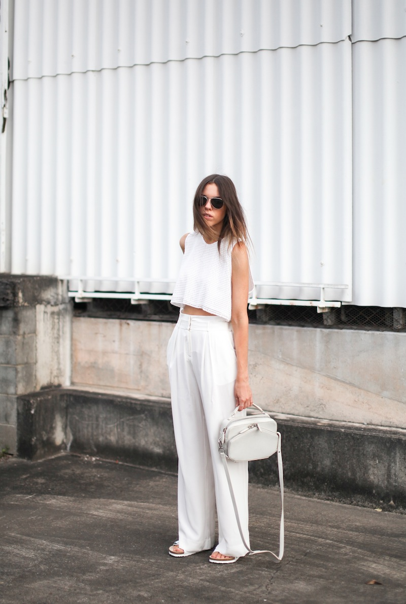 modern legacy fashion style blogger australia sass bide wide leg silk pants faddoul label top zara boyfriend blazer white birkenstocks street style alexander wang rafael bag (3 of 11)