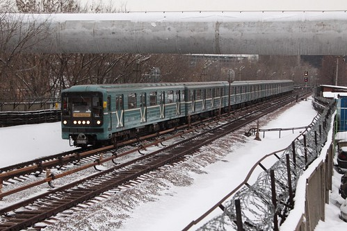 Moscow Metro train running at surface level