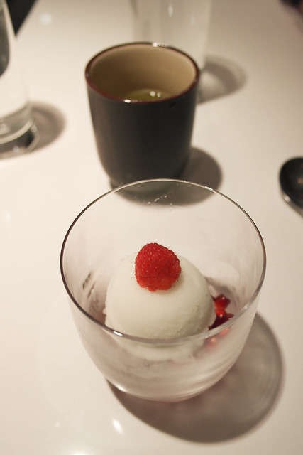 yuzu sorbet with pomegranate and raspberry