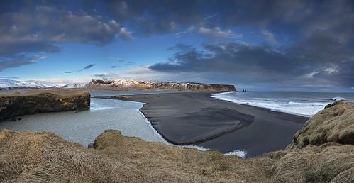 sunset panorama black mountains beach clouds landscape coast iceland sand vik glacier headland dyrholaey