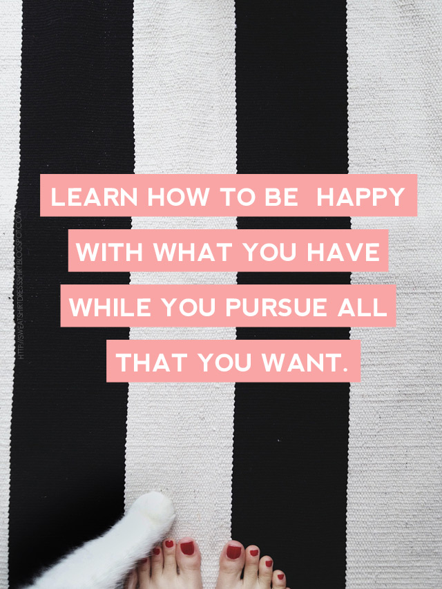 learn how to be happy with what you have while you pursue all that you want, jim rohn quote, ikea striped rug, tj maxx rug, black and white striped rug