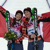 Thompson and Serwa celebrate their gold and silver medals in Sochi
