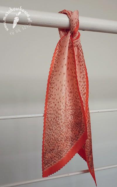 Vintage scarf, 60s, 70s, fashion, retro, pleated, plisowany szal, apaszka