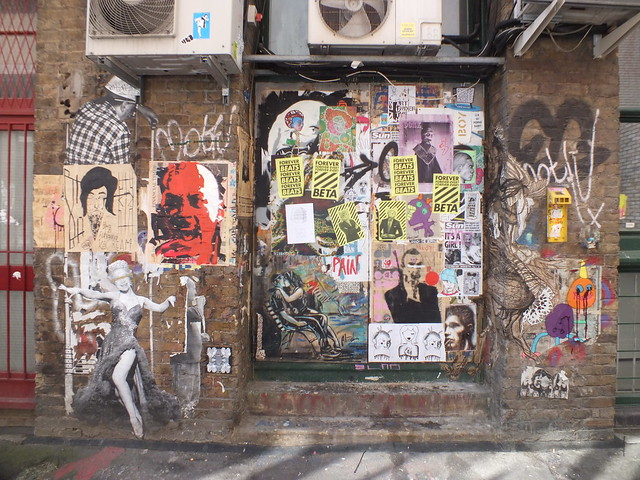 Street art, stickers and stencils at Blackall Street, Shoreditch