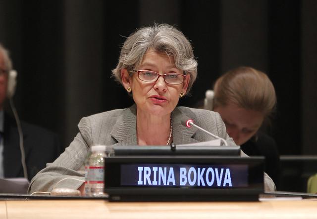 Irina Bokova, UN, New York City, 2014. Image via flickr: https://www.flickr.com/photos/secretaria_cultura/14119044444