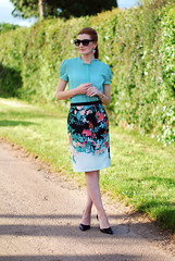 Floral pencil skirt & patterned blouse