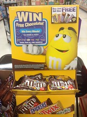 "Win Free Chocolate M&M's Display with Yellow and Red M&M's Floor Display 5/2014 MandM's Pics by Mike Mozart of TheToyChannel and JeepersMedia on YouTube #MandMs ""M&M's"" #WinFreeChocolate #FloorDisplay"