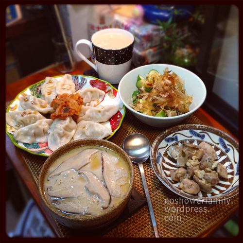 Homemade:dumpling with kimchi, dried bonito flakes with cucumber, milk tea, steamed egg
