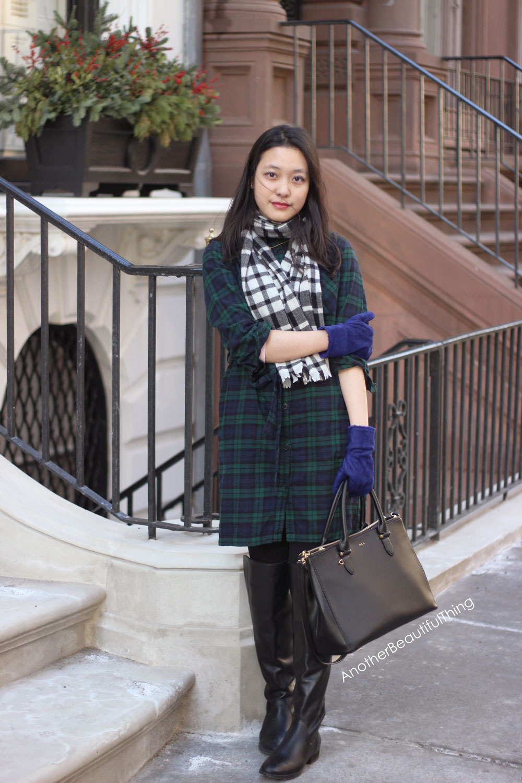 Green and black plaid dress and Ralph Lauren Newbury bag