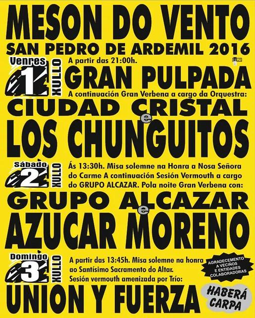Ordes 2016 - Festas patronais de MEsón do Vento - cartel