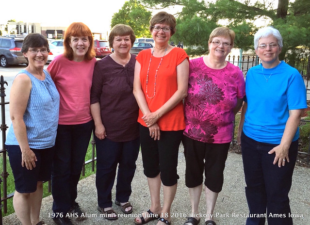 2016-06-18 all 1976 AHS mini-reunion at Hickory Park Ames Iowa June 18 Jane (Pearson) Beeman, Jami Simon, Jodie (Tryon) Stokke, Julie (Sederburg) Clark, Karen (Allen) Kerper, Connie (Martin) Vaclav Mike Vaclav photographer