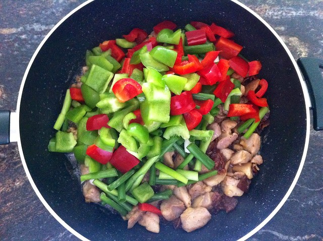 Bell Peppers and Onions Added to Wok