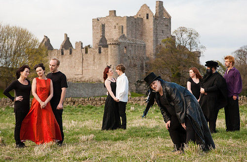 The Cast of Edinburgh People's Theatre's production of Mary Queen of Scots got her Head Chopped Off on a publicity shoot at Craigmiller Castle, Edinburgh. LR: Anne Mackenzie (Chorus), Lynn Cameron (Elizabeth), Colin Povey (Riccio), Lynne Hurst (Mary), Kyle Sutherland (Darnley), Mags Swan (La Corbie), Kathryn Clark (Chorus), Graham Bell (Knox) and  Matthew Stanhope (Hepburn O'Bothwell). Photo © Robert Fuller.