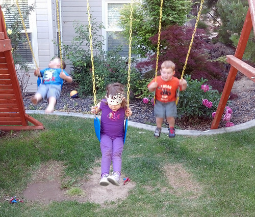 Lily, Brock and Brice playing in the backyard