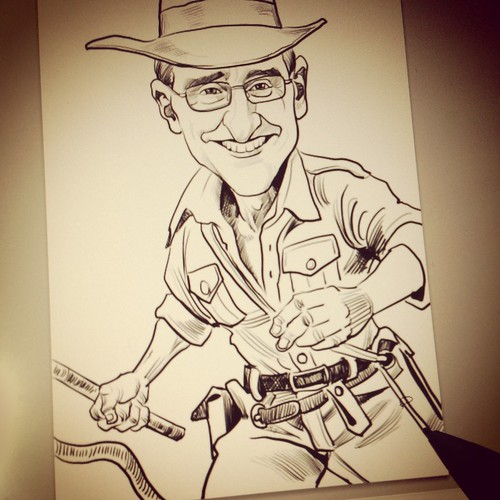 Indiana Jones digital caricature for GIC - outline