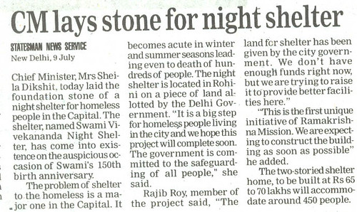 Statesman Report on Night Shelter