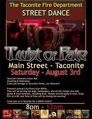 08/03/13 Twist Of Fate @ Taconite Fire Department Street Dance, Main Street, Taconite, MN