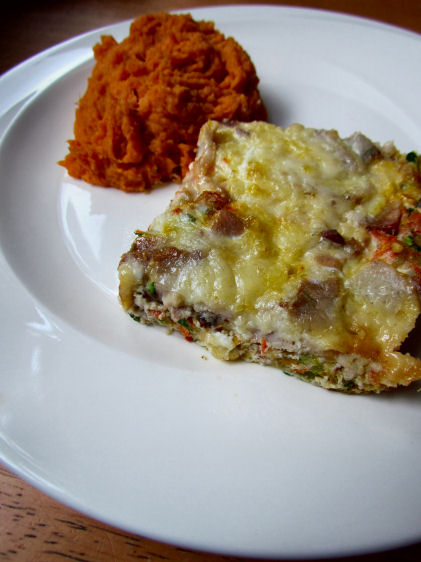 Garden Frittata with Fast Sweet Potatoes