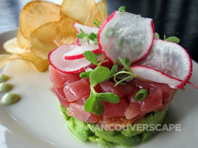 Luke's Tuna Terrine, sashimi-grade tuna, avocado, citrus, mustard tatsoi, ginger potato chips, wasabi mayo