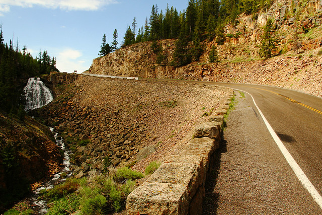 Rustic Falls: Roadside Waterfall in Yellowstone