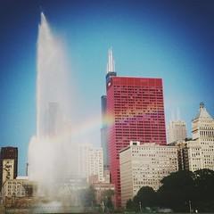 Buckingham Fountain with rainbow in Chicago.