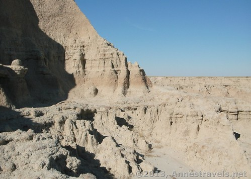 Looking along the wall from The Window, Badlands National Park, South Dakota