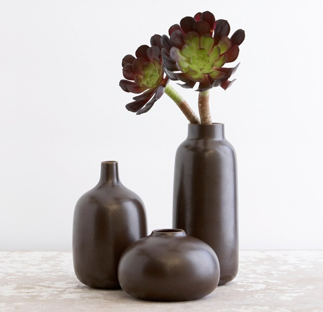 brown vases