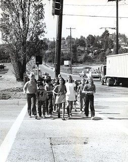 Sand Point Elementary students in crosswalk, 1972