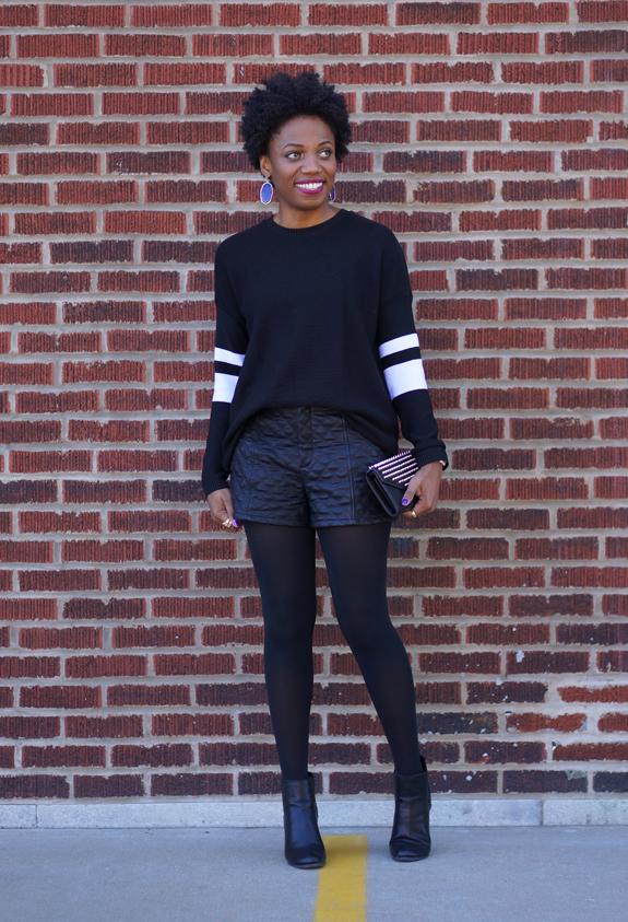 Forever 21 Varsity Stripe Waffle Knit Sweater, Forever 21 leather shorts 4c