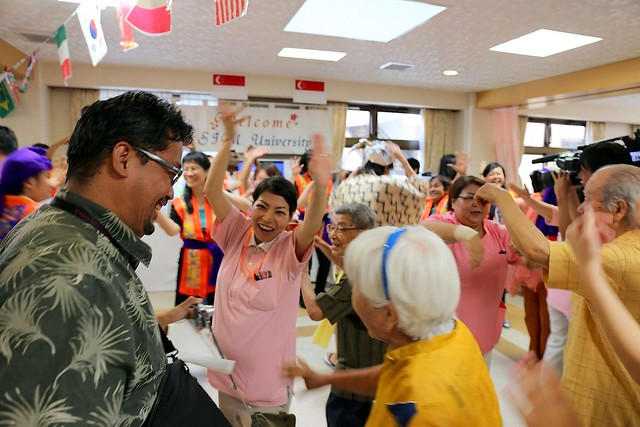 Oh yes, the elderly never stop dancing in Okinawa