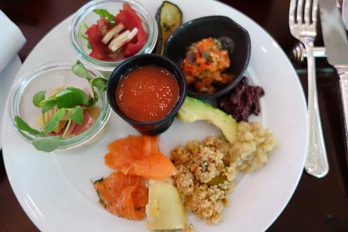 Salad, Gazpacho, Smoked Salmon & Grilled Zucchini