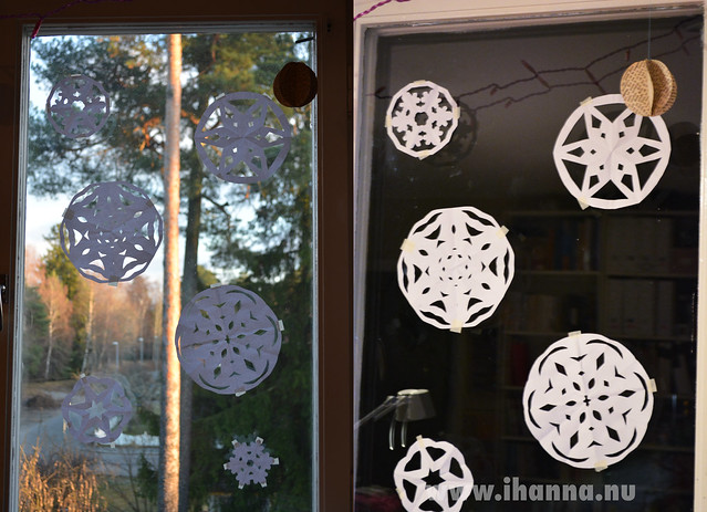 Snowflake window by day and by night  (Copyright Hanna Andersson 2013)