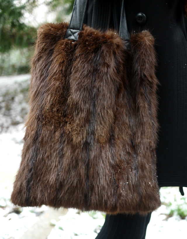 winter ootd upcycled bag by reformation vintage fur