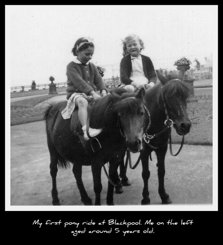 Me and girl from lodgings on a pony about 5 years old