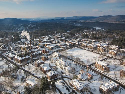 winter campus aerial dartmouth