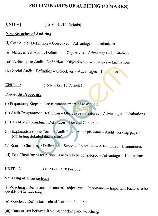 West Bengal Board Syllabus for Class 12 - Commercial Law and Preliminaries of Auditing