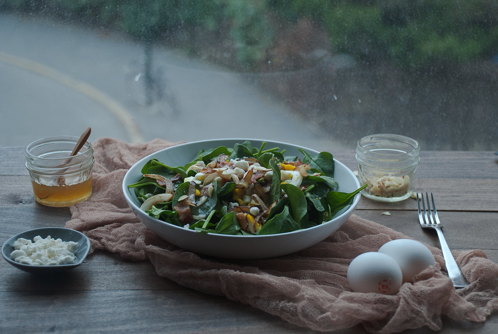 Spinach Salad with Warm Bacon & Honey Mustard Dressing